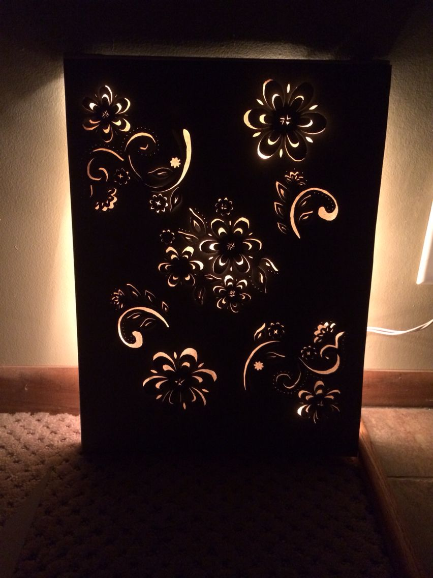Backlit Stenciled Flowers Canvas Canvas Light Art Lighted Canvas Art Diy Canvas