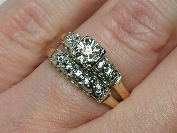Vintage Wedding Ring Set: 1950s Two Tone
