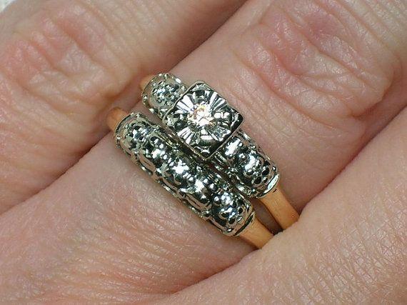 Vintage Wedding Ring Set: 1950s Two Tone