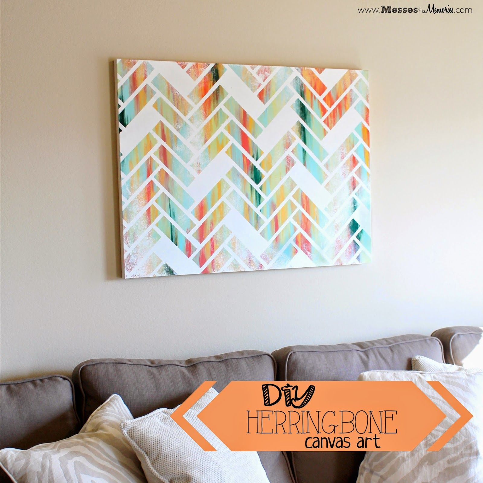 DIY Herringbone Art - Look what you can do with a canvas, paint, and ...