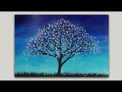 Surreal Fantasy Tree Acrylic Painting Abstract Silhouette
