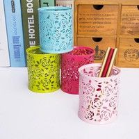 Wish | Metal Hollow Rose Flower Design Cylinder Pen Pencil Pot Holder Container Vintage Women Makeup Brush Holders