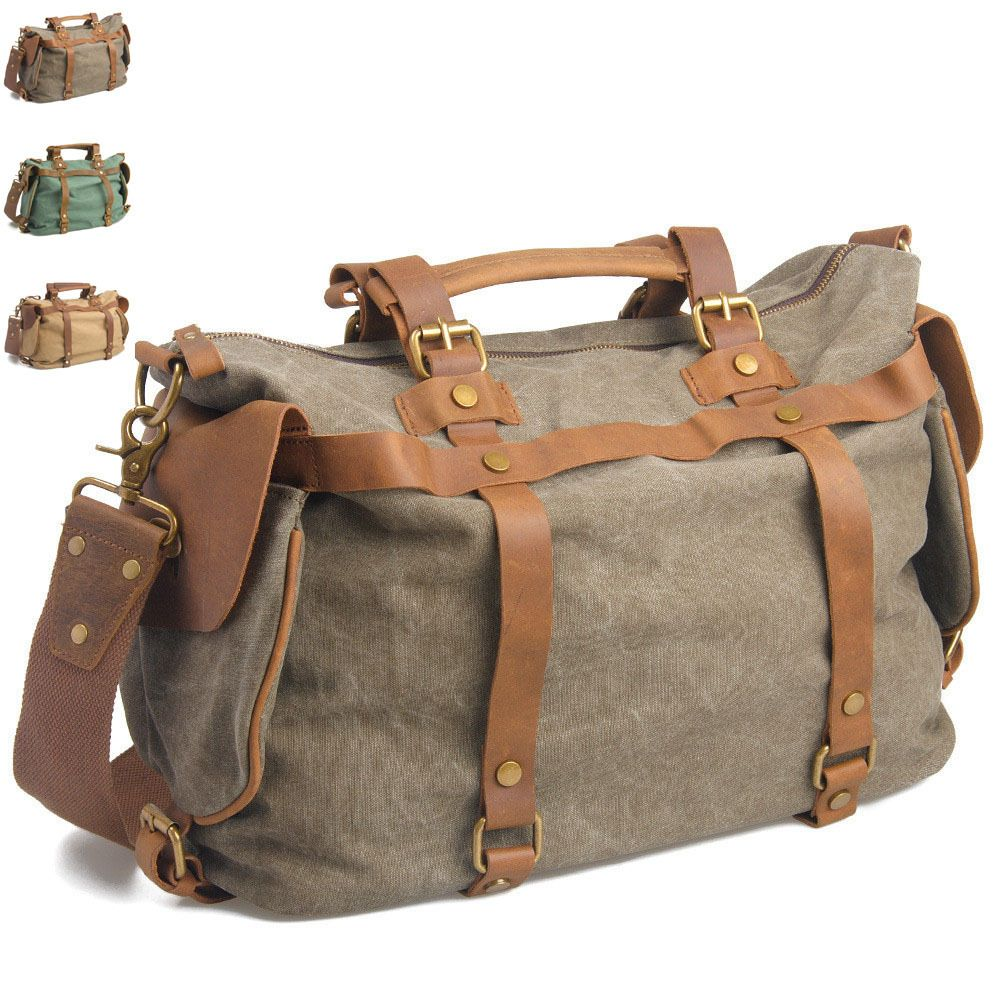 mens canvas leather duffle bag - Google Search | Leather Bags ...