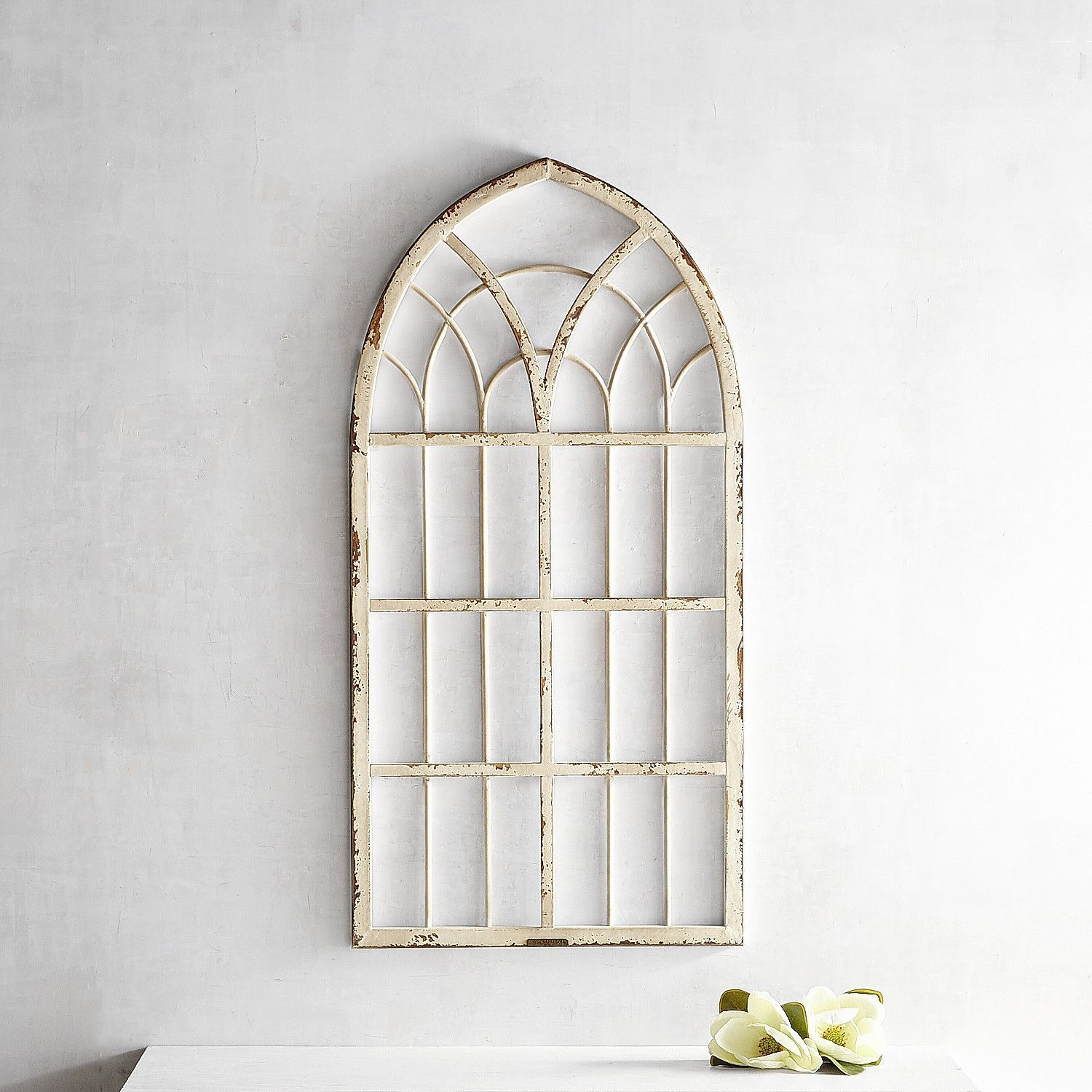 Magnolia home metal cathedral window frame white products