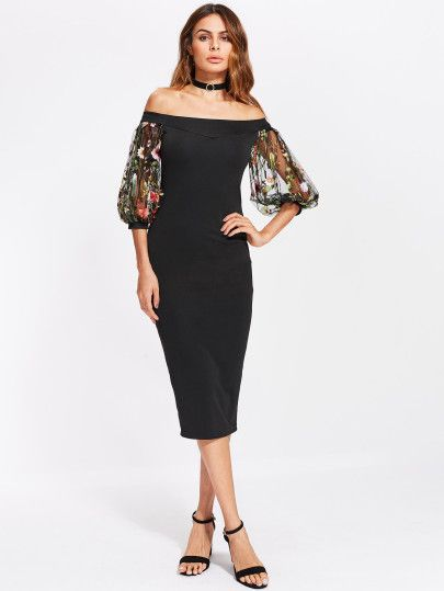 ded69b2083be refashion idea: sleeves don't need to match....convert sleeveless into  sleeves. Bardot Dress With Embroidered Mesh Puff Sleeve