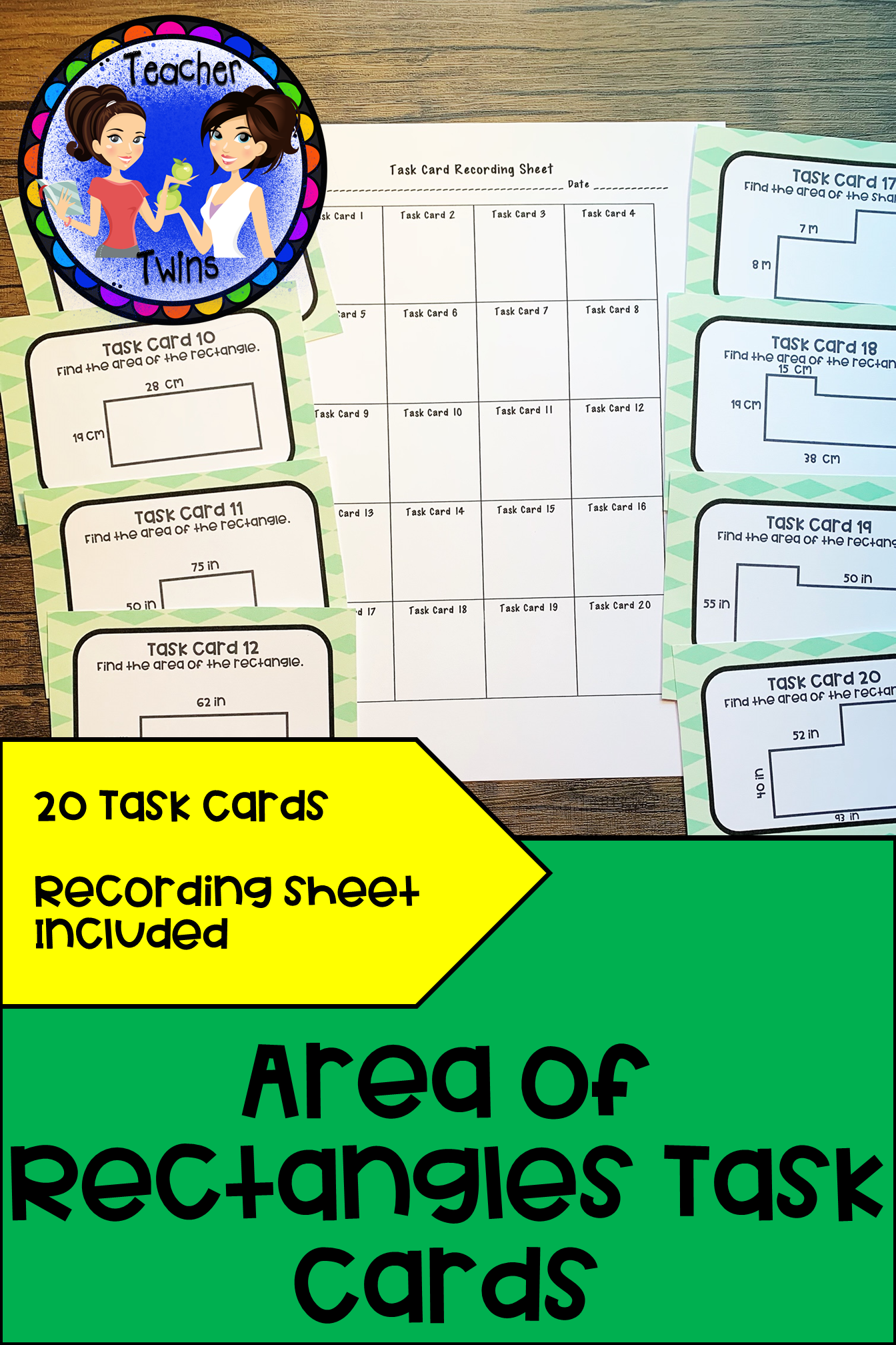 Finding The Area Of Rectangles Task Cards