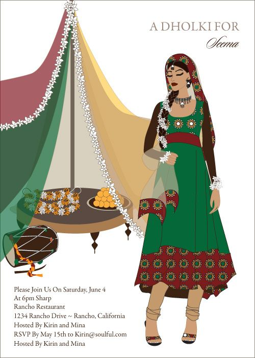 Mehndi Ceremony Clipart : Dholki diva indian bridal shower invitations by