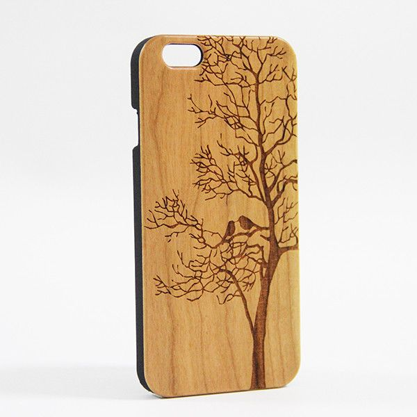 Loving Birds Tree Natural Wood Engraved Iphone 6 Case Plus 5s 5