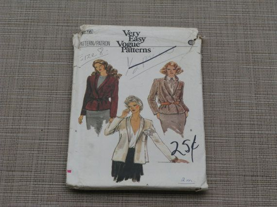 Very Easy Vogue Sewing Jacket Pattern Size 8