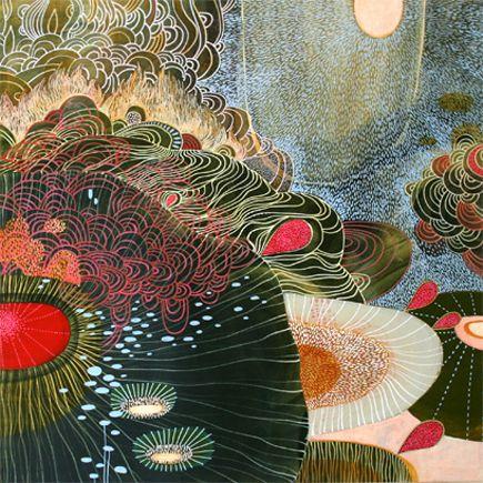 """Stasis"" 16"" x 16"" Acrylic on wood by Yellena James. Buy her amazing work here: http://www.yellena.etsy.com"