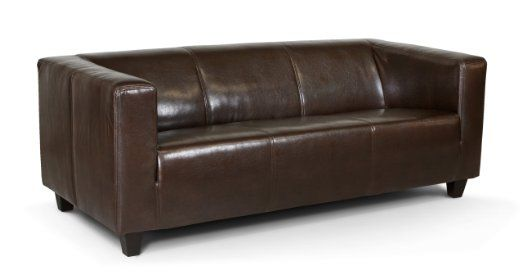 B-famous 3-Sitzer Sofa Kuba 186 x 88 cm, Glanzleder, braun Amazon