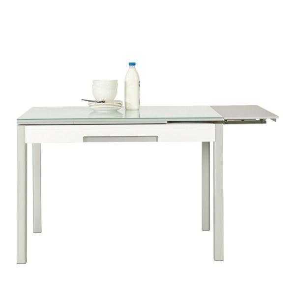 Mesa de cocina extensible de cristal con caj n urban for Mesa cocina cristal