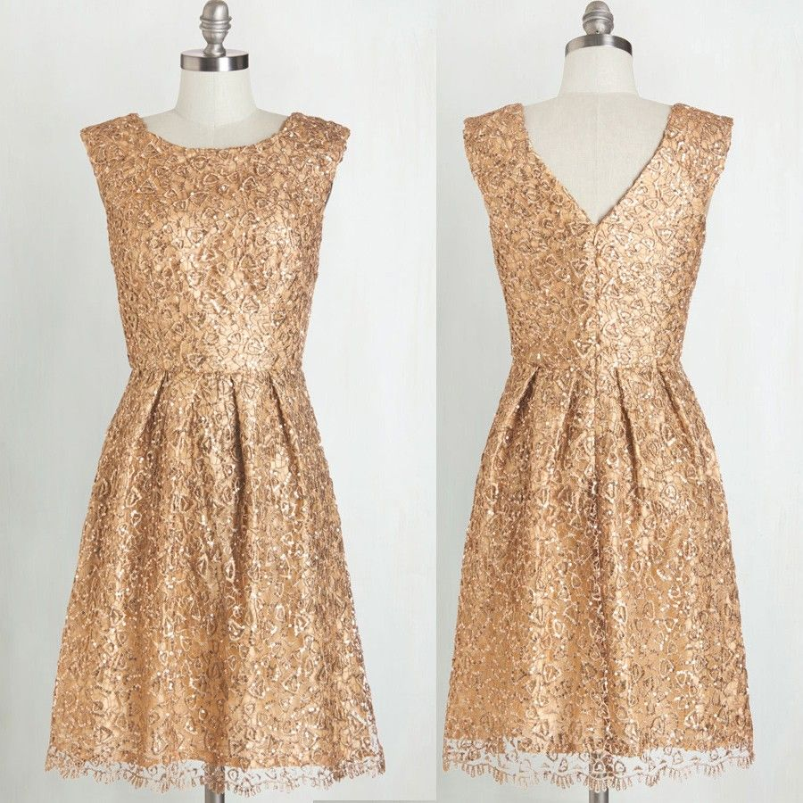 Gold dresses for wedding  Gorgeous Bridesmaid Dress Gold ALine Scoop KneeLength with