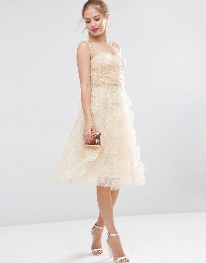 Asos Salon 3d Flower Organza Midi Prom Dress Dresses