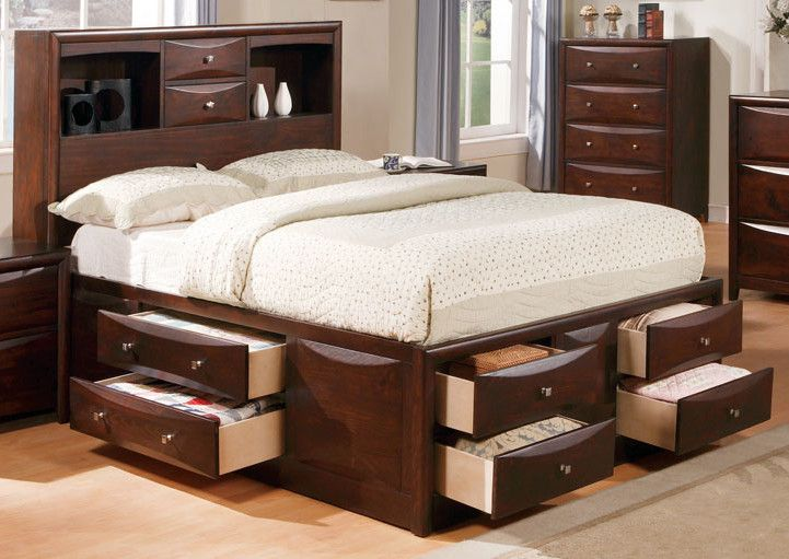 acme manhattan california king storage bed in espresso king platform bed with drawers