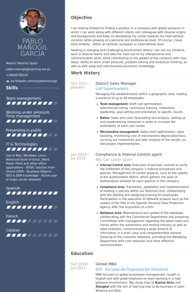 District Sales Manager Resume Example Cv Pinterest Sample