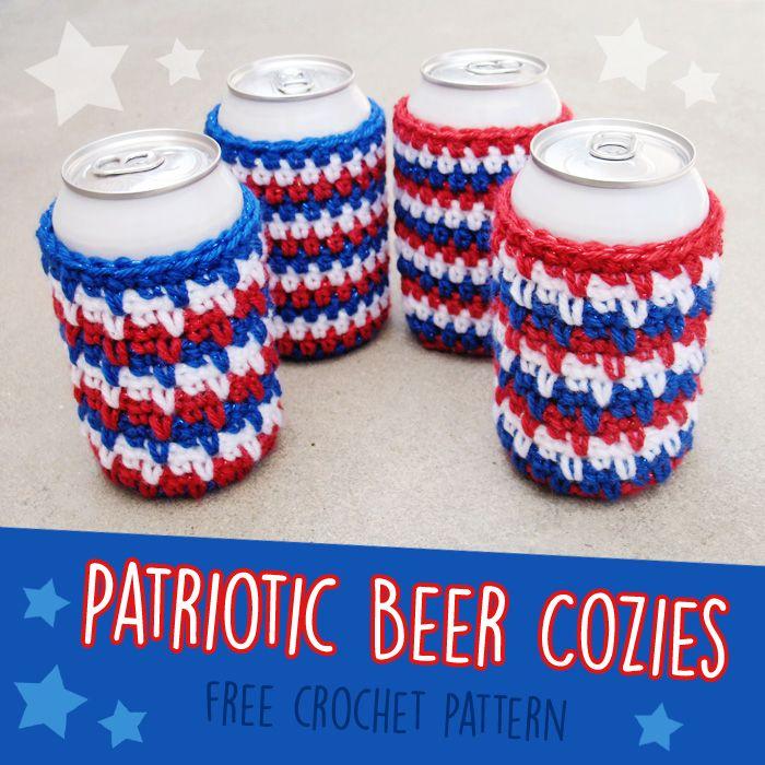 Free Crochet Pattern: Patriotic Beer Cozies (Gleeful Things) | Conejo