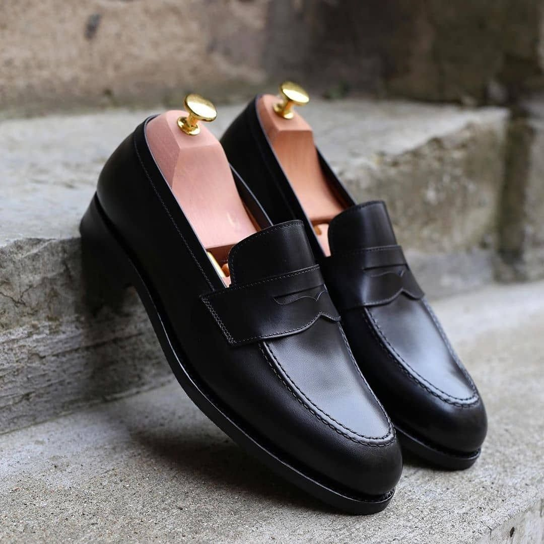 Black Office Dress Up Penny Loafer Slips On Black Leather Handmade Shoes Penny Loafers Fashion Dress Shoes Loafers Style [ 1080 x 1080 Pixel ]