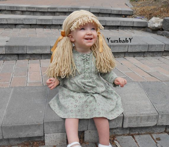 Beige Doll Wig Cabbage Patch Inspired Baby Hat Baby Girl Halloween ...