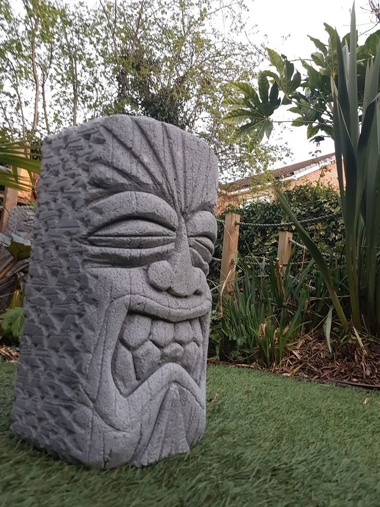 Hand Carved Concrete Tiki Head Garden Statue In Patio Ornaments Statues Lawn Ebay