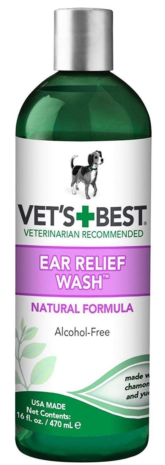 Vets Best Ear Relief Wash Cleaner for Dogs 16 oz Refill