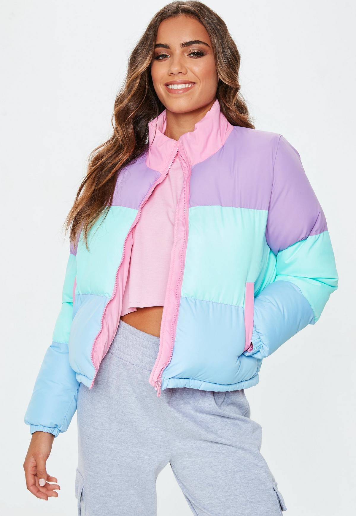 Multi Pastel Colour Block Puffer Jacket Missguided Coats Jackets Women Coats For Women Cute Casual Outfits [ 1739 x 1200 Pixel ]