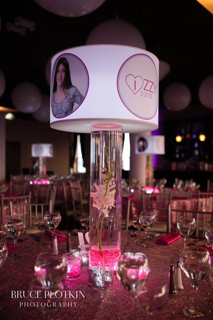 Custom Lampshade Centerpiece With Photos Logos Orchids Led Lighting