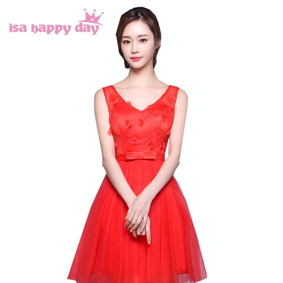 cheap short elegant tulle ball gown bridesmaid bridemaids v neck red ...