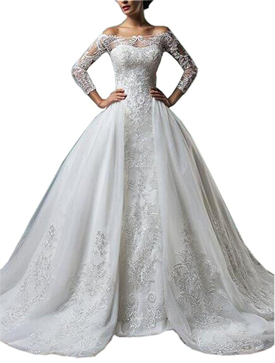 Wannisha gorgeous off the shoulder long sleeves lace wedding dress