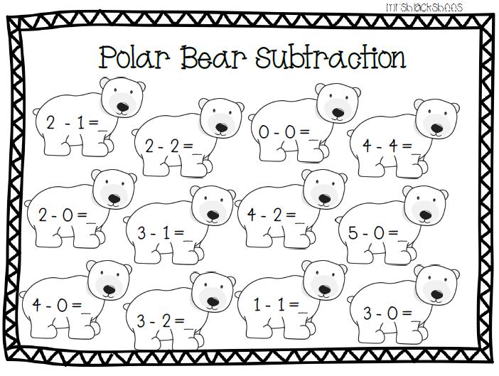 Polar Bear Subtraction Polar Bears Kindergarten Polar Bears Activities Artic Animals