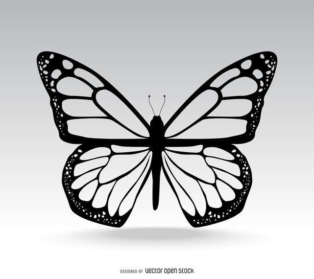 Photo of Illustration de papillon isolé en noir. Cette conception montre de nombreux détails dans …