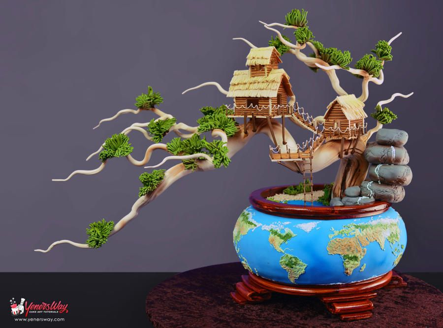 Earth Day Bonsai Tree Cake by Yeners Way - Cake Art Tutorials