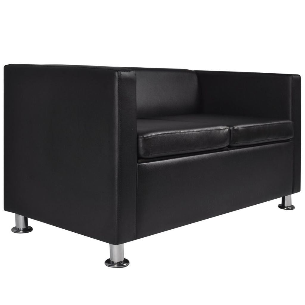 Artificial Leather 2seater Sofa Black Sleeping Sofaoffice Sofa 47 2 X 24 6 X 24 8 L X W X H See This Terrific Product This Is An Affiliate Link With Images Black Sofa