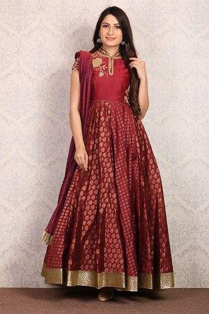 Maroon Anarkali Poly Mettalic Suit Set von Rohit Bal | kleider ...
