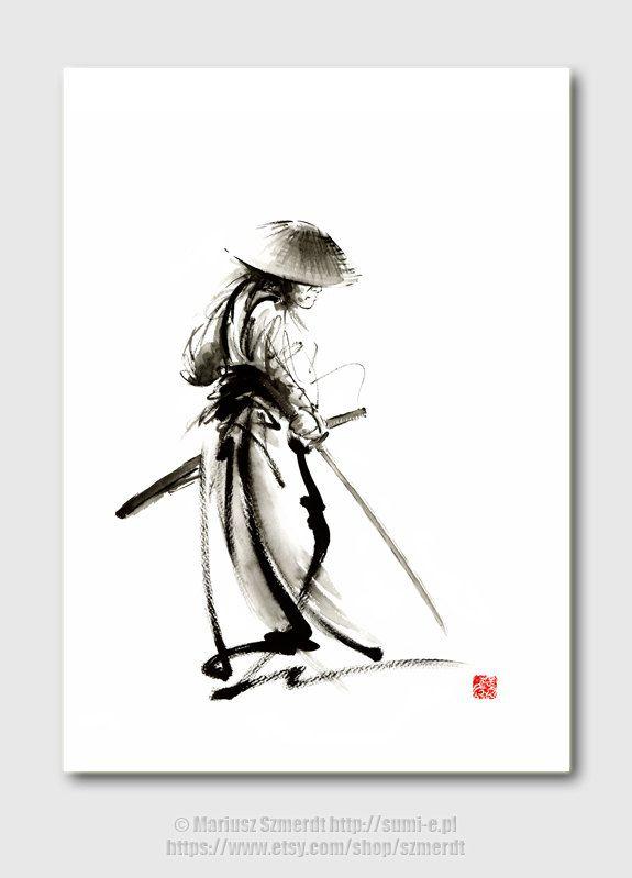 Samurai Samurai art Samurai sword watercolor by SamuraiArt on Etsy, $35.00