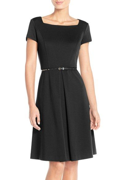 Ellen Tracy Pleat Ponte Fit & Flare Dress available at #Nordstrom