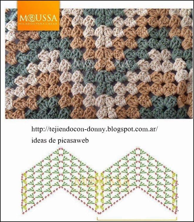 Excepcional Zig Patrón Manta Crochet Zag Ideas - Manta de Tejer ...
