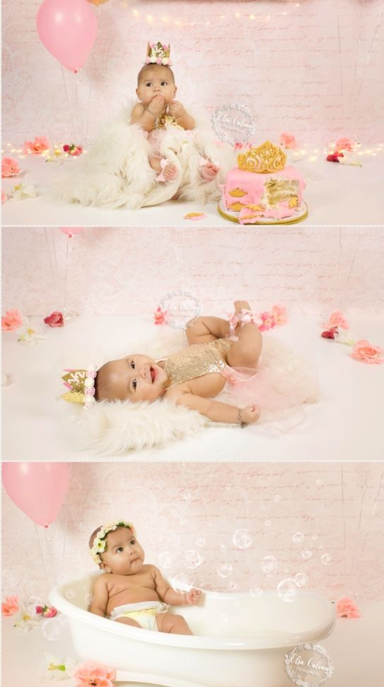 6 month cake smash | baby milestone session | pink and gold cake ...