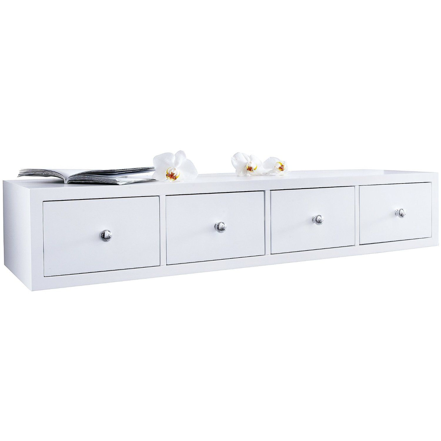 MiaVILLA White Floating Shelf With 4 Drawers: Amazon.co.uk
