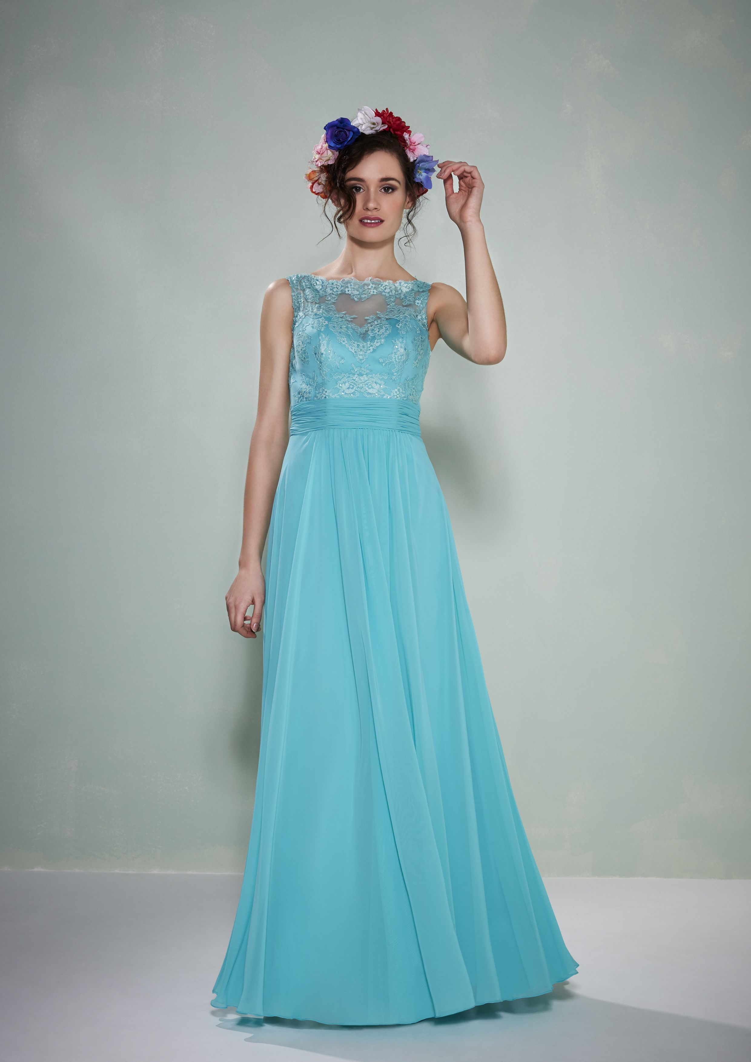 Gabi ~ A lace and chiffon bridesmaid gown with illusion neckline and ...