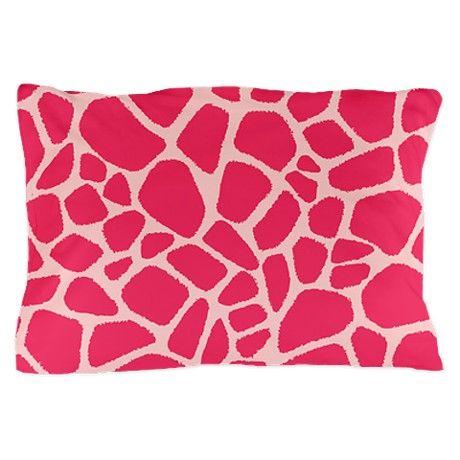 Pink Giraffe Print Pillow Case On Cafepress Com Area Rug Decor Printed Pillow Pink Giraffe