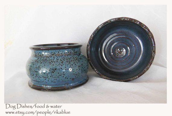 Pottery spaniel dog bowl set by rikablue on Etsy, $48.00