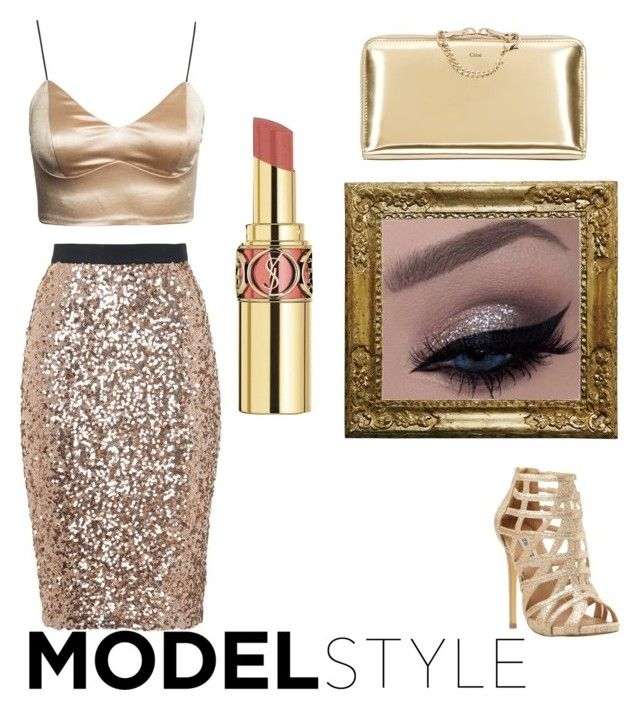"""""""Sparkle tan look."""" by kylie-and-kendall ❤ liked on Polyvore featuring French Connection, Steve Madden and Yves Saint Laurent"""