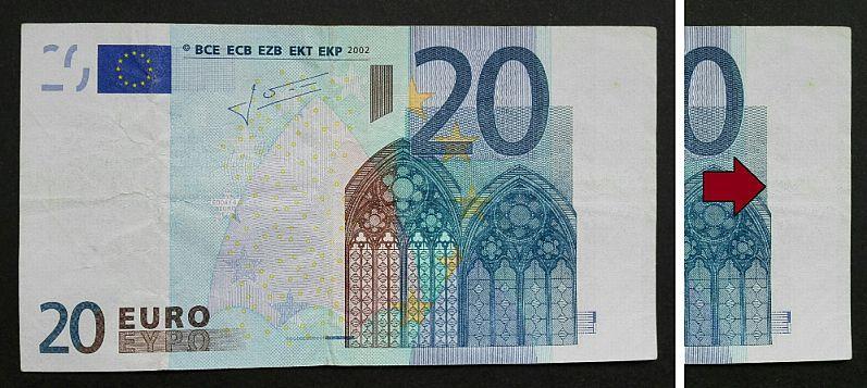 Fehldruck 20 Euro Schein Banknote Vorderseite Fehlendes