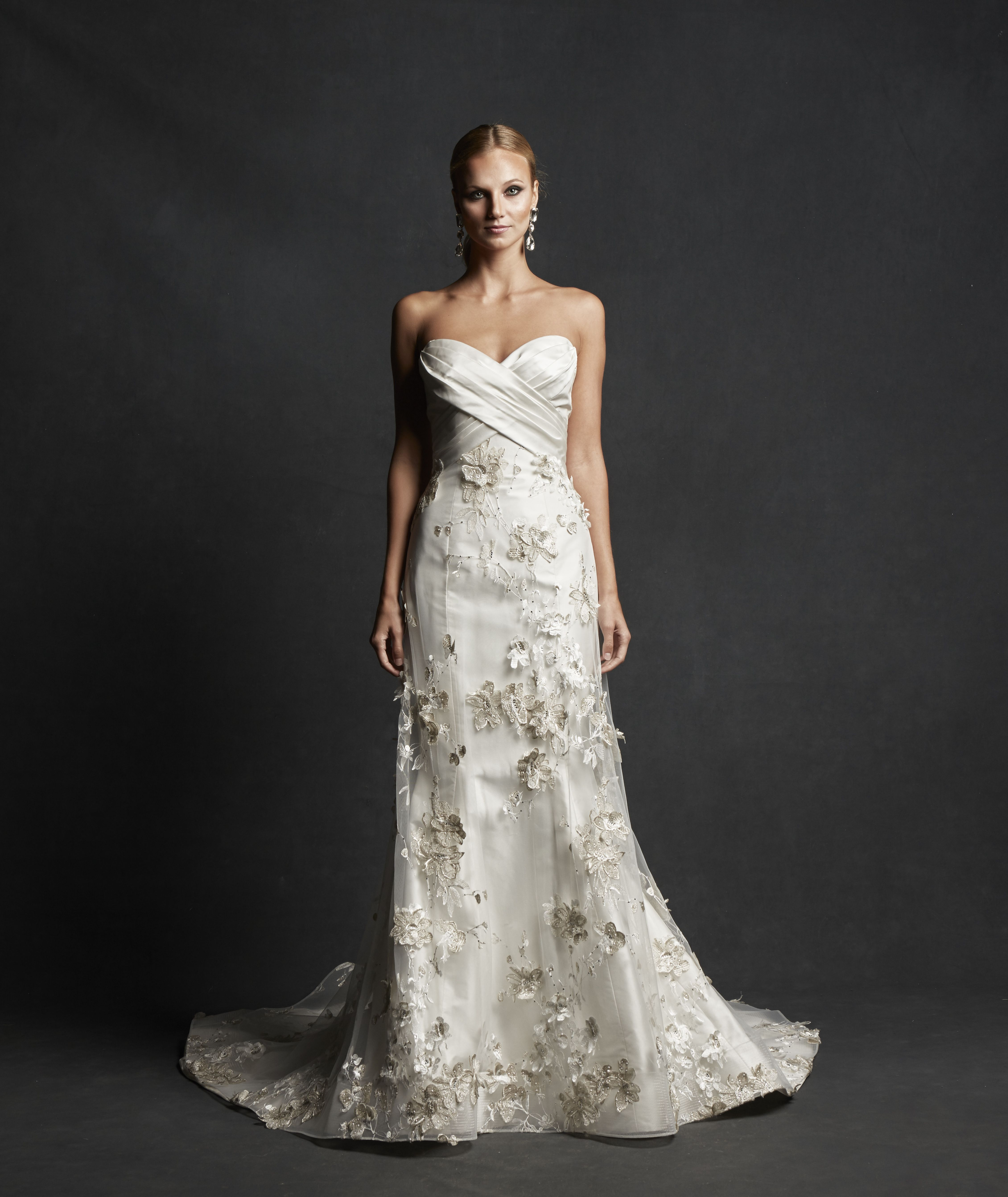 Gorgeous 2016 Appliqued Silk Taffeta Wedding Dresses A: Strapless Fit And Flare Gown With Draped Silk