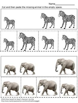 free animals zoo sorting cut and paste kindergarten math w rumble in the jungle pinterest. Black Bedroom Furniture Sets. Home Design Ideas