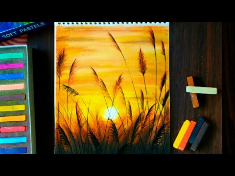Beautiful Sunset Drawing Over The Wheat Field Soft Pastel Drawing Drawing For Beginners Youtube In 2020 Drawing Sunset Pastel Artwork Oil Pastel Paintings
