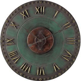 Industrial-inspired wall clock with Roman numerals and a gently weathered finish.  Product: Wall clock