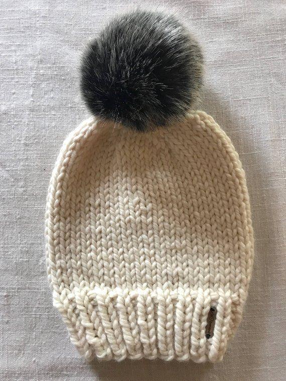 2afbcf617ed Ivory Knit Hat with Faux Fur Pom Pom
