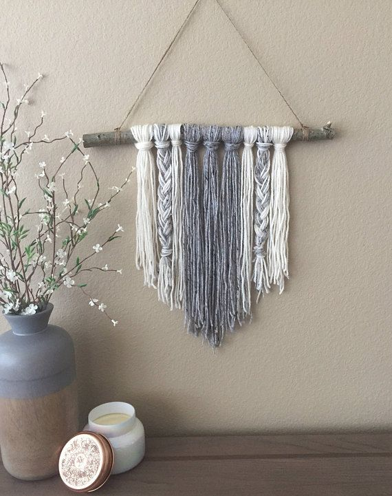 Modern Yarn Wall Hanging Braided Gray Ivory Modern Decor Boho Decor Unique Decor Wall Art Wall Deco Deco D Interieur Artisanale Mur Diy Decor Diy